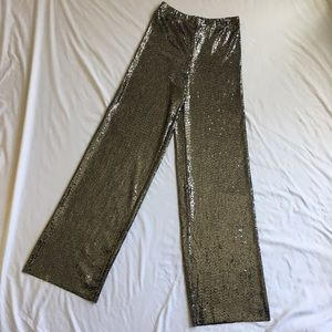 Forever 21 Black Silver Sequin Pants XS